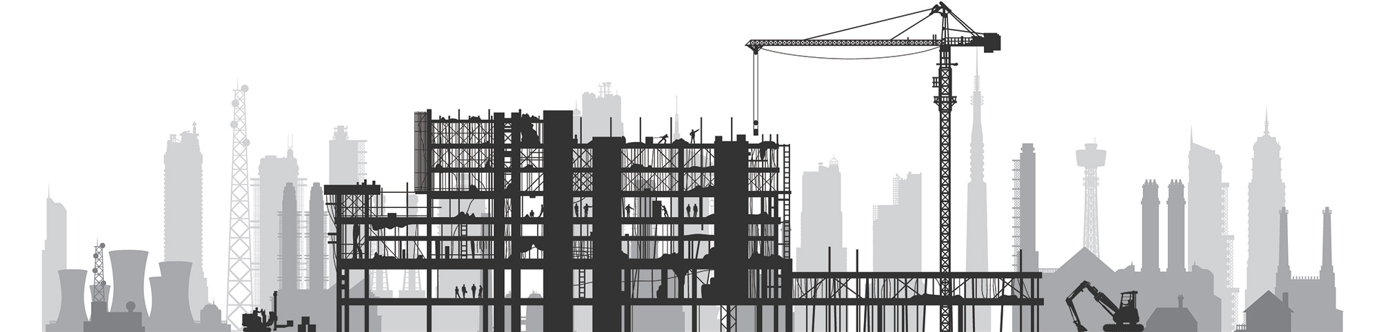 Illustration of construction site with a cityscape